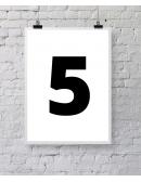 """Plakat """"Five"""" - biały"""