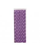 Papierowe słomki fioletowe w białe gwiazdki