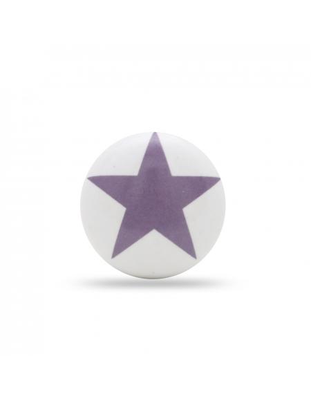 Gałka do mebli fioletowa gwiazdka