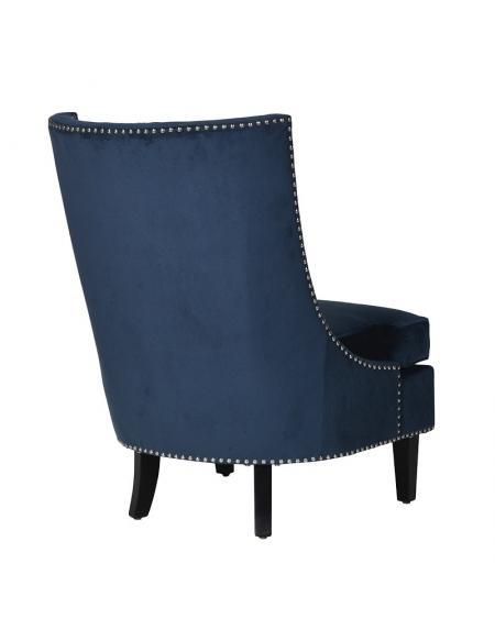 Tapicerowany fotel w stylu nowojorskim w kolorze granatowym