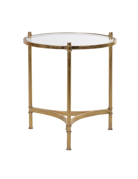 Szklany stolik  w kolorze złotym