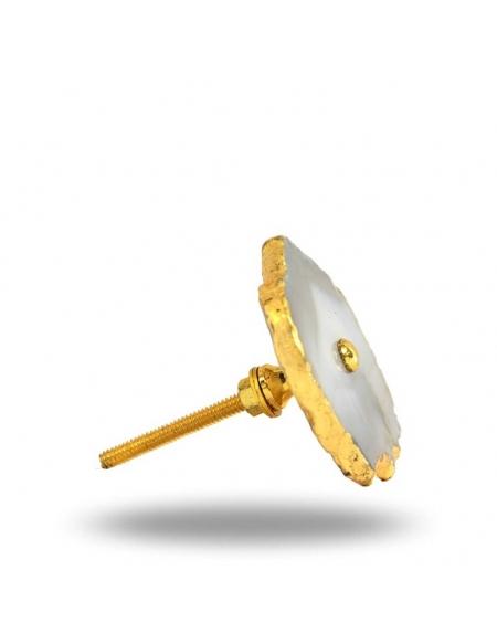 Gałka do mebli Agat szaro-złoty