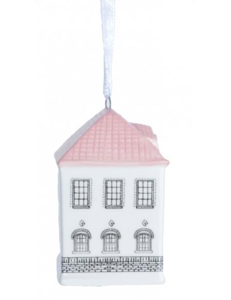 Zawieszka domek porcelanowy róż
